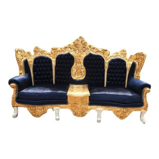 Baroque / Rococo Dark Blue Velvet Three Seater Sofa Settee
