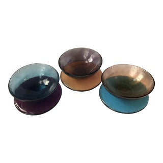 Handblown Colorful Glass Bowls & Saucers - Set of 3