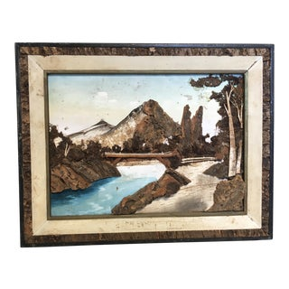 Vintage Natural Bark Landscape Painting
