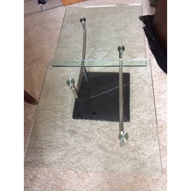 Modern Glass, Chrome & Marble Base Swivel Coffee Table - Image 8 of 11