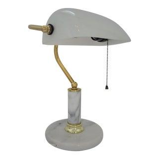 Vintage White Marble and Brass Banker's Desk Lamp