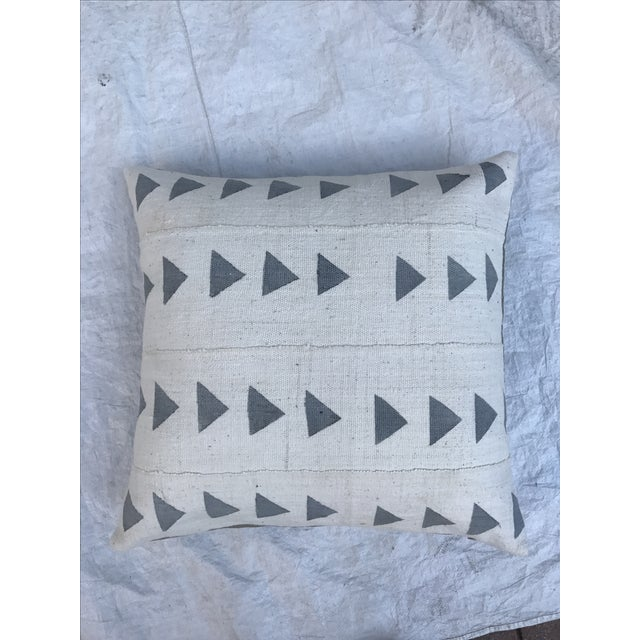Grey & White Arrow Mud Cloth Textile Pillow - Image 5 of 6