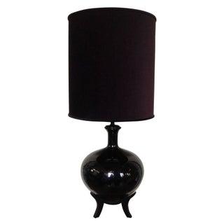 Giant Vintage Black Lamp with Velvet Shade