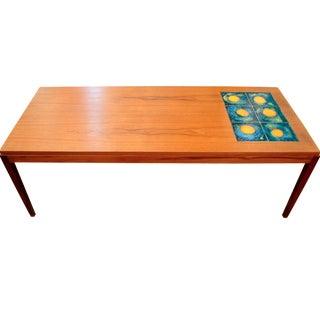 Danish Modern Teak & Tile Coffee Table