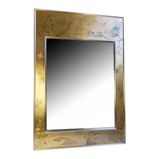 LaBarge Gold Chinoiserie Reverse Painted Mirror With Brass Frame, Circa 1980s