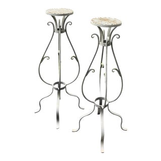 Wrought Iron Plant Stands - a Pair