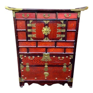 Antique Asian Cabinet Sideboard Tansu Dansu Vintage Korean or Chinese Decor With Fish Locks and Keys