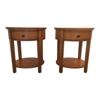 Wood Single Drawer Oval Bedside Tables - a Pair