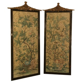 Pair of Monumental Chinese Wall Panels by Dessin Fournir