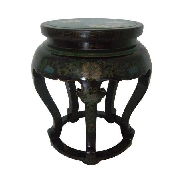 Antique Chinese Cloisonné & Black Lacquer Drum/Side Table - Image 1 of 6