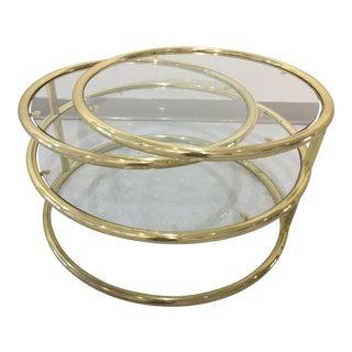 Milo Baughman Style Mid-Century Circular Coffee Table