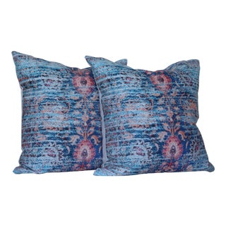 Blue Ikat Distressed Print Pillow Cover - a Pair-16''
