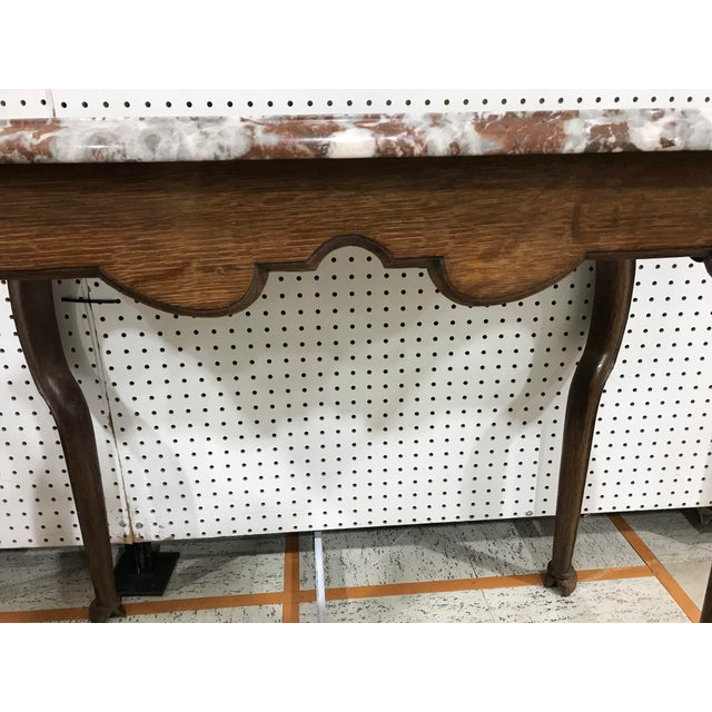 Portuguese Oak Marble Top Console Table - Image 2 of 6