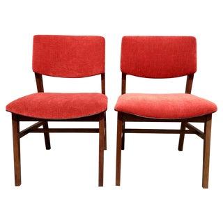 Mid-Century Red Velvet Side Chairs - One Left!
