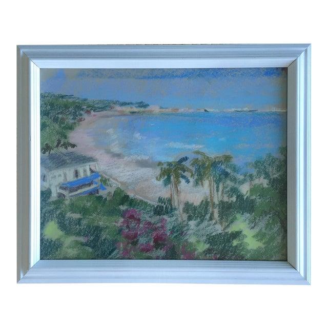 Original Oil Pastel Carribean Coastal Seascape Framed Art - Image 1 of 10