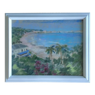 Original Oil Pastel Carribean Coastal Seascape Framed Art