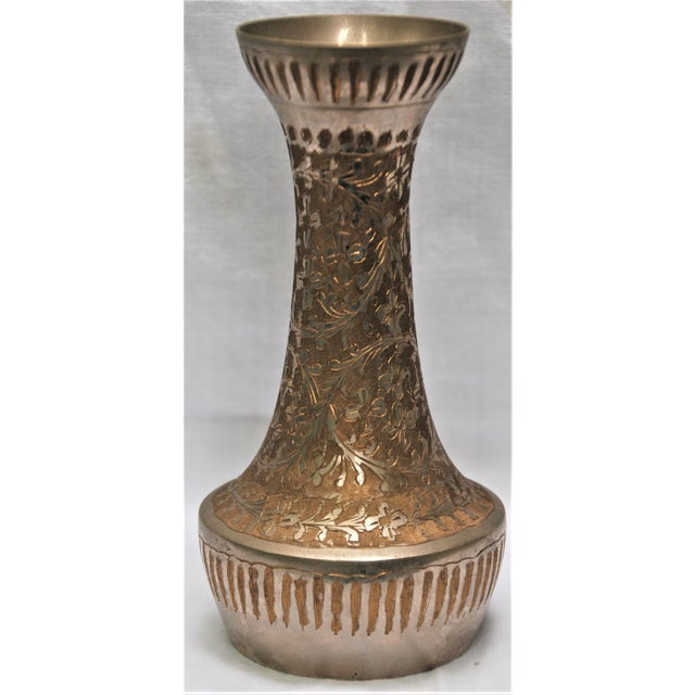 Image of Vintage Silver Metal Floral Vase