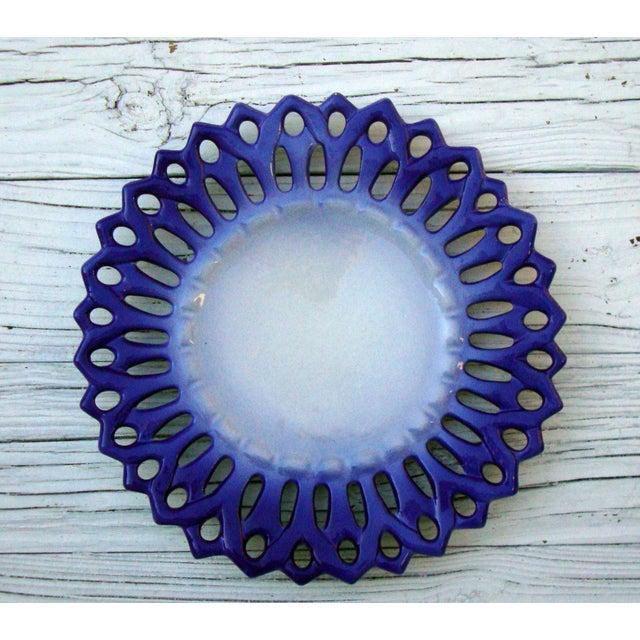 Vintage Portuguese Majolica Ceramic Blue Platter - Image 2 of 6