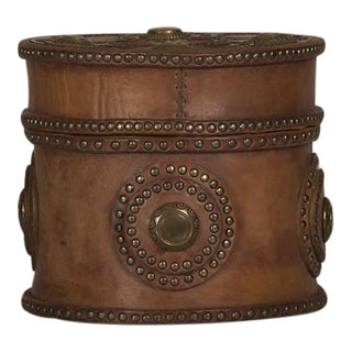 Large Antique Italian Leather Box with Decorative Brass Studs circa 1900