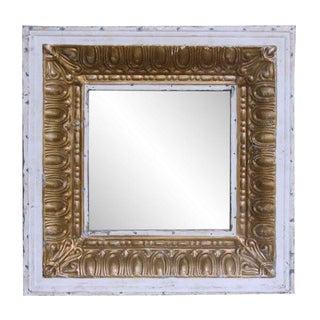 White & Gold Tin Mirror
