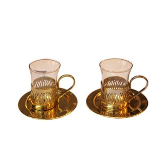 Small Gold Cordial Glasses with Saucers - A Pair