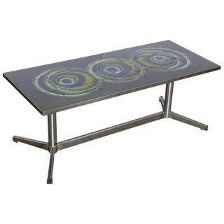 Vallouris Handmade Tile Table Top on Chromed Steel Base