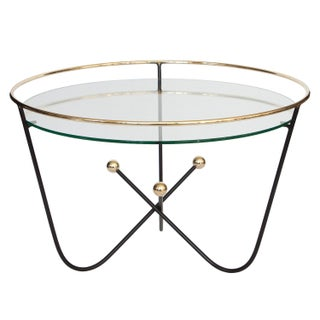 Jean Royere Style Black & Brass Cocktail Table