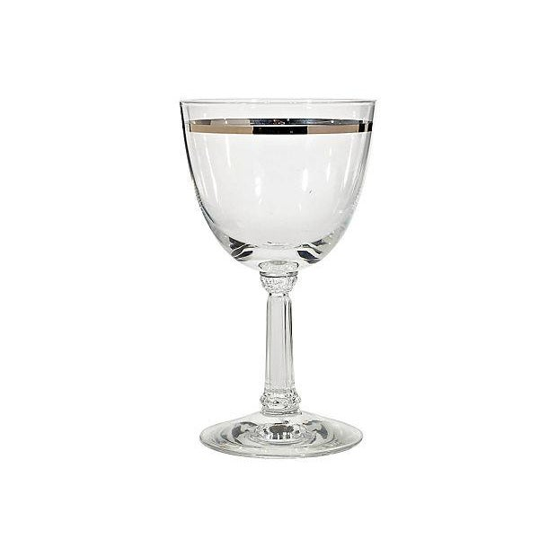Image of 1960's Silver-Accented Wine Glasses - Set of 11