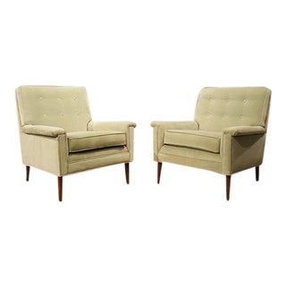 1960s Paris Green Velvet Armchairs - A Pair