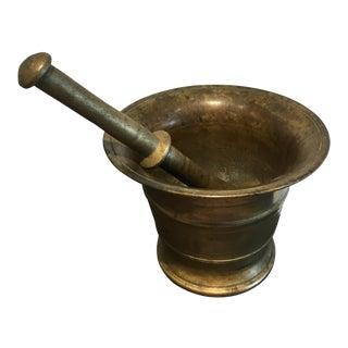 Antique Brass Mortar & Pestle