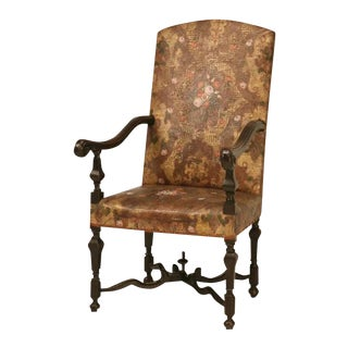 Antique Embossed Painted & Gilded Leather Chair