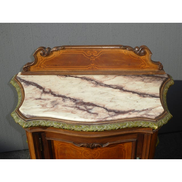 Antique White Marble Top Nightstands - A Pair - Image 6 of 11