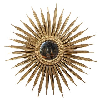 Vintage French Giltwood Sunburst Mirror with Convex Glass and Layered Rays