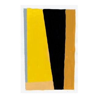 Contemporary Geometric Yellow & Black Acrylic Painting