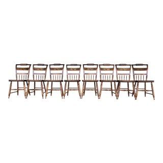 L. Hitchcock Maple Harvest Paint Decorated Farmhouse Chairs- Set of 8