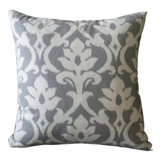White & Gray Ikat Linen Pillow