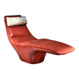 Leather Chaise Longue with Cowhide Pillow, 1960s