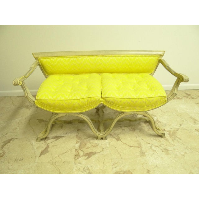 Vintage French Regency X Base Louis XV Settee Love Seat Recamier - Image 2 of 11