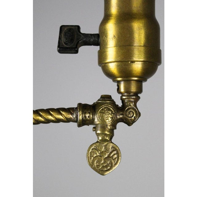 Rare Industrial Converted Gas-Electric Pendant with Engraved Stem - Image 7 of 7