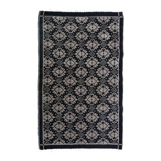 Double-Sided Arya Riley Black & Gray Chenille Rug - 3'10 X 5'10