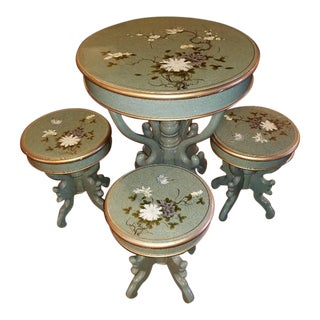 Chinese Import Hand Painted Table & Stools - Set of 5