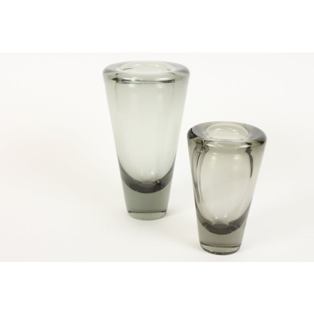 Image of Holmegaard Smokey Grey Umanak Vases - A Pair