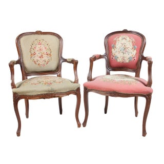 Vintage Louis XVI-Style Fauteuil Chairs - A Pair
