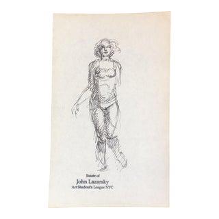 Original Vintage Female Ink Sketch