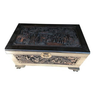 Oriental Antique Hand Carved Camphor Chest Trunk