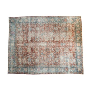 "Vintage Distressed Tabriz Carpet - 10'10"" x 13'9"""