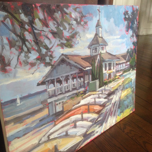 "Bright, Multicolored ""Lakeside Pavilion"" Original Oil Painting - Image 9 of 11"