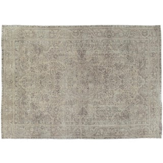 Pakistani Vintage Distressed Ivory Rug- 6′5″ × 9′