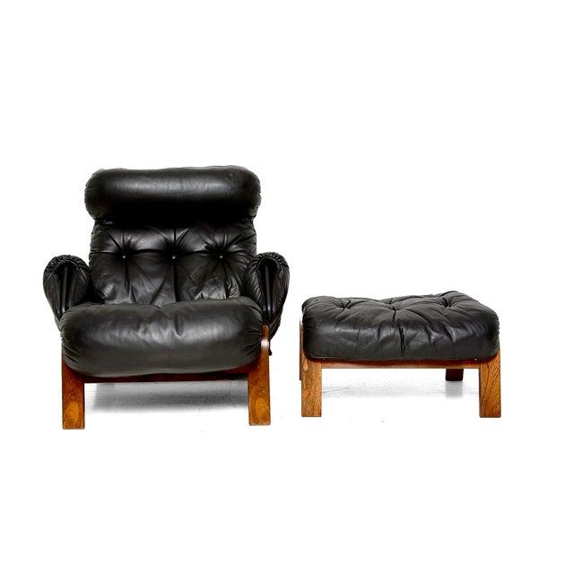 Vintage 1973 Scandinavian Rosewood Chair & Ottoman - Image 2 of 9