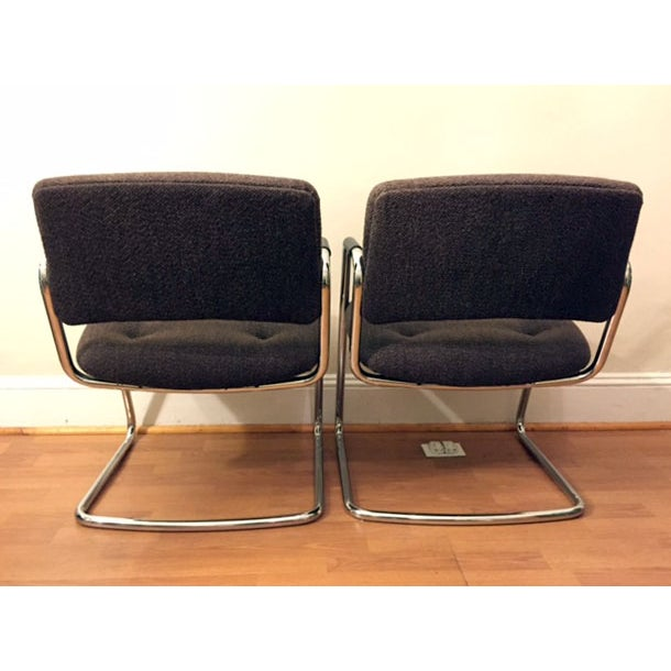 Steelcase Brown Chrome Cantilever Chairs - A Pair - Image 4 of 4